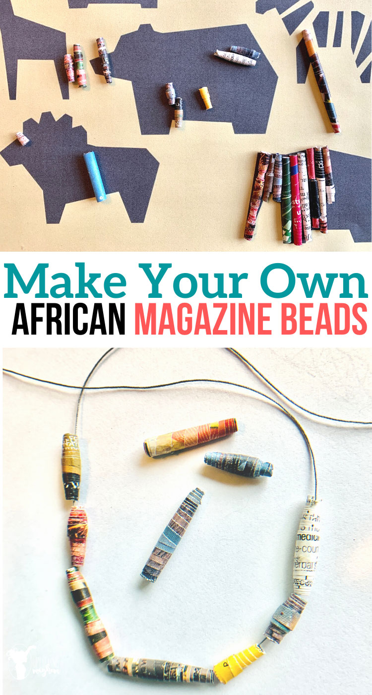 Create and make your own African magazine beads! Gather your old magazines and recycle them into cool beads that your kids can make! Create your own jewelry and wall art!
