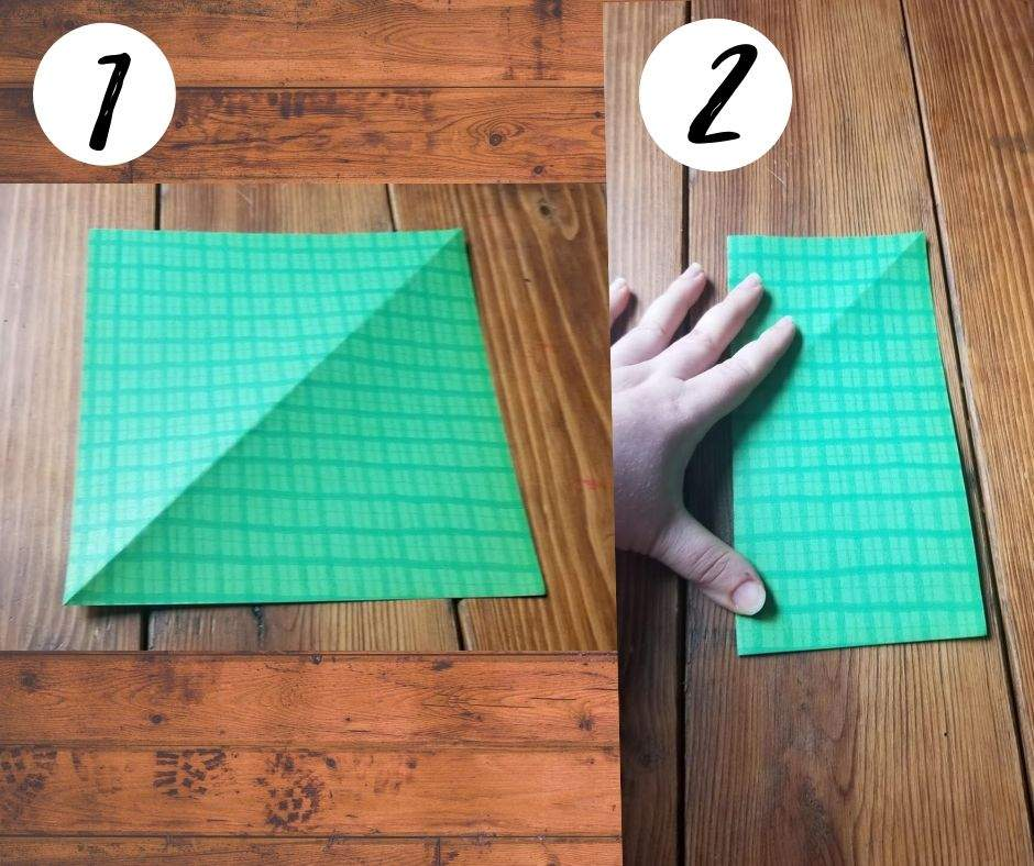 how to make origami jumping frogs, steps 1 and 2