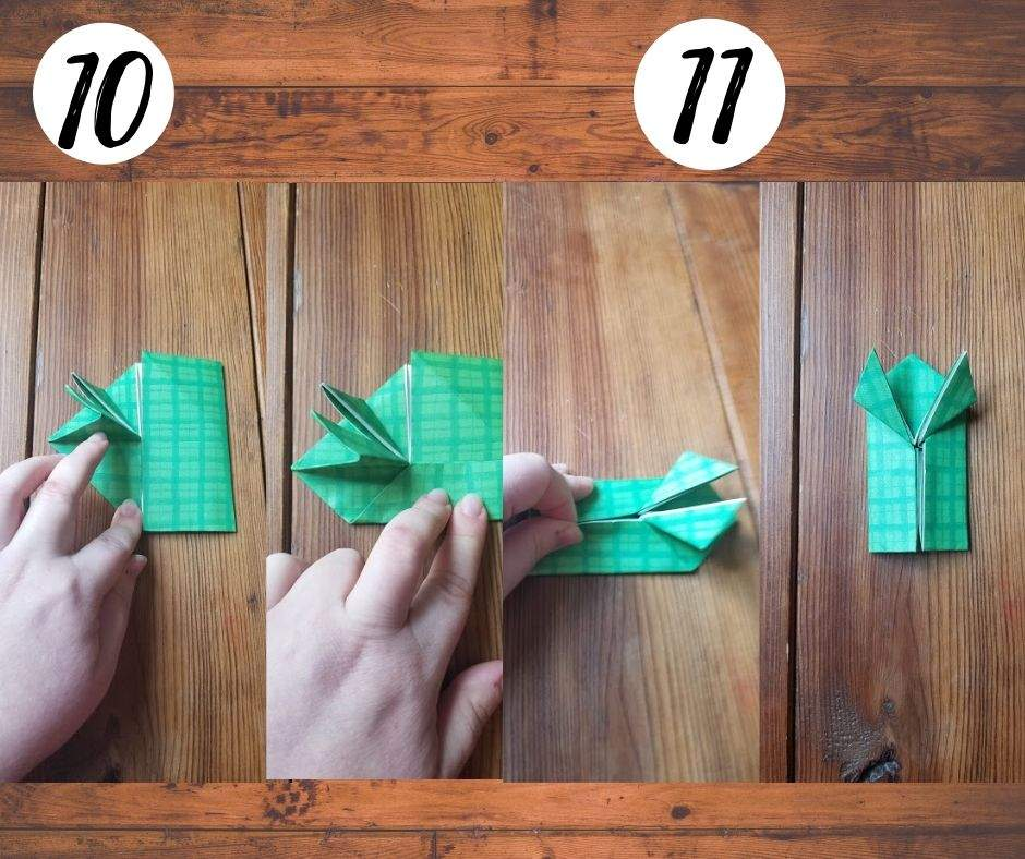 paper folding frogs, steps 10 and 11