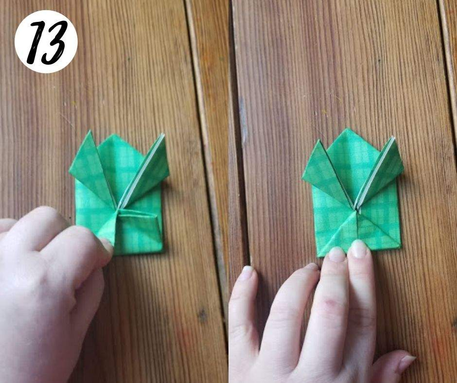 paper folding frogs, step 13