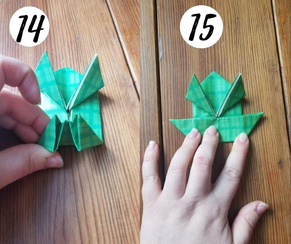 paper folding frogs, steps 14 and 15
