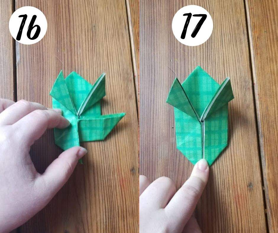 how to make origami jumping frogs, steps 16 and 17
