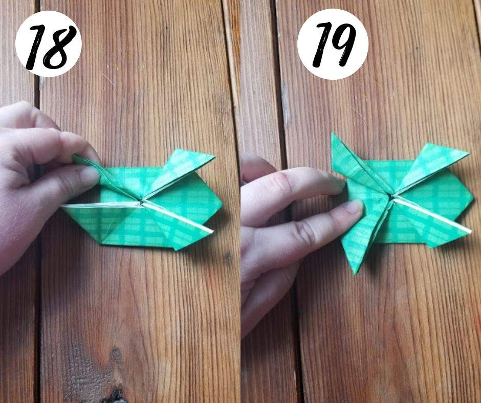 paper folding frogs, steps 18 and 19