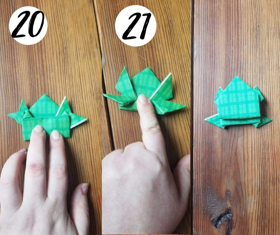 how to make origami jumping frogs, steps 20 and 21
