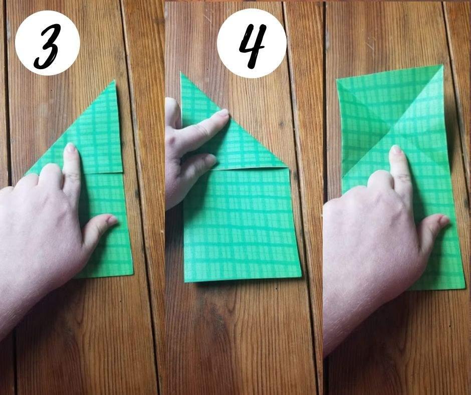 paper folding frogs, steps 3-4