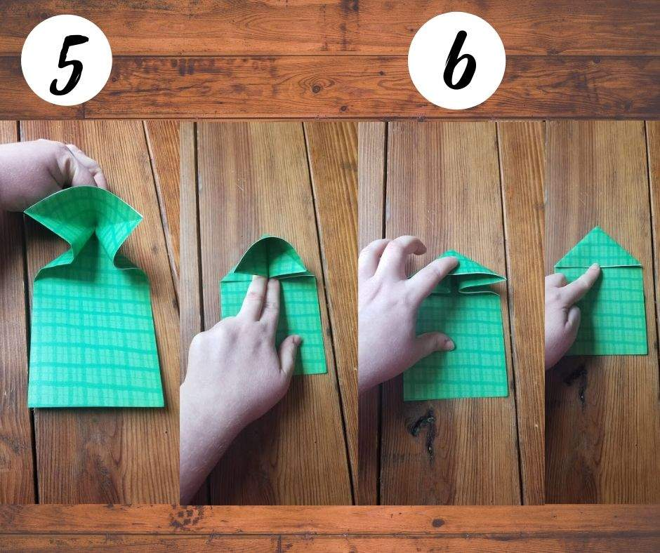 paper folding frogs, steps 5 and 6