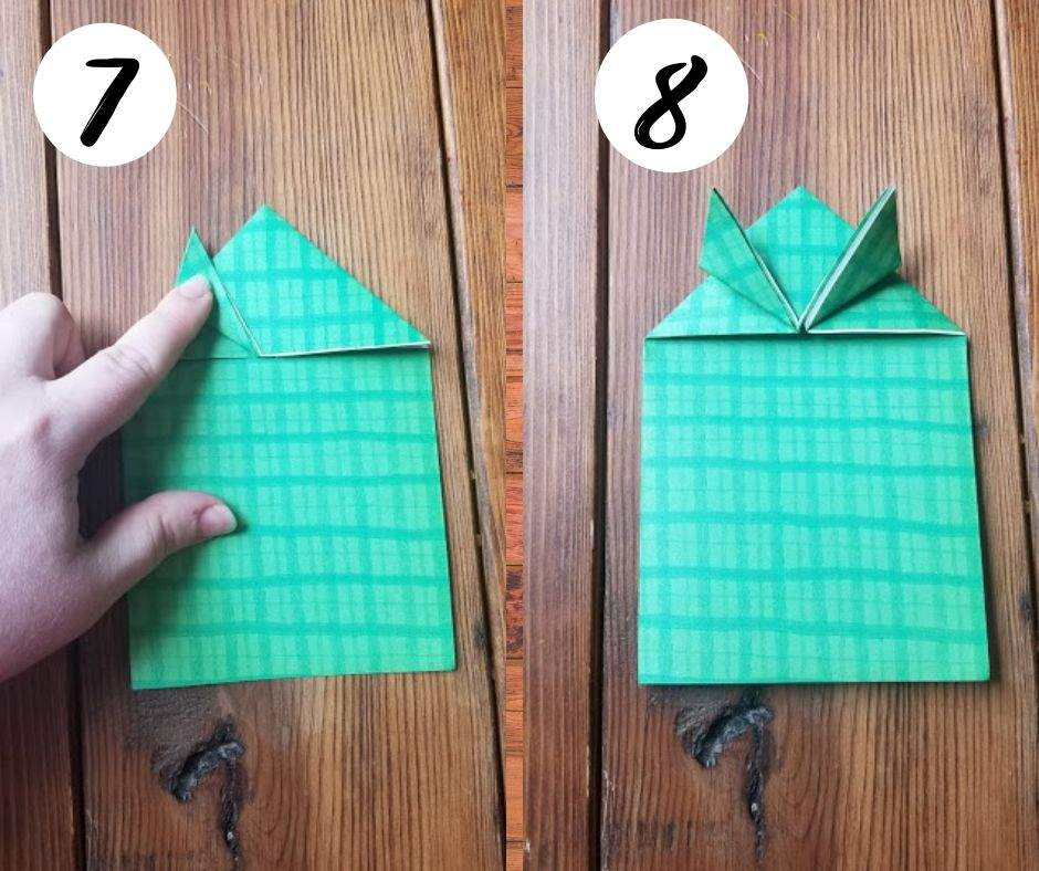paper folding frogs, steps 7 and 8